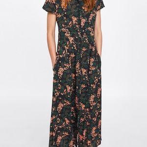 Zara Floral Shirt Maxi Dress